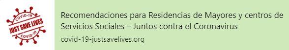 Recomendaciones para Residencias de Mayores y centros de Servicios Sociales